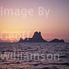 GW09025 = Famous Es Vedra island ahead at sunset, Ibiza, Balearic Islands, Spain. 24 August 2001.