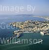 GW02475 = Aerial view over Ibiza Town and port with Formentera ferry + Windstar Sailing Cruise liner, Ibiza, Baleares, Spain. 28 Sep 1996.