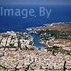 GW05690 = Aerial view over Ciutadella, Menorca, Baleares, Spain. 1999. (plus departing ferry to Alcudia, Mallorca).