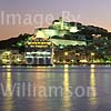 GW02330 = Cruise Ship MV SILVER WIND + Ibiza Town at night, Ibiza, Baleares, Spain. 1996.